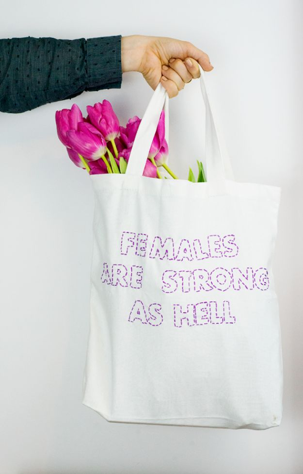 Free Embroidery Patterns - DIY Stitched Text Tote Bag - Best Embroidery Projects and Step by Step DIY Tutorials for Making Home Decor, Wall Art, Pillows and Creative Handmade Sewing Gifts embroidery gifts diy ideas