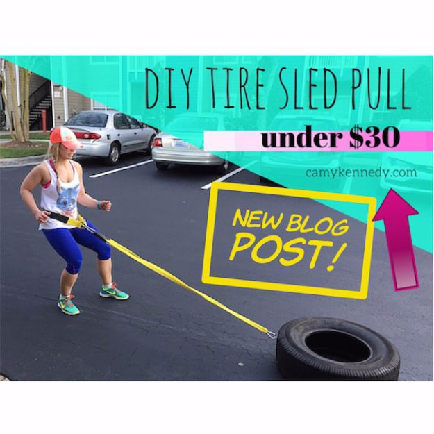DIY Exercise Equipment Projects - DIY Tire Sled Pull with Straps and Belt Under $30 - Homemade Weights and Strength Training Projects - How To Build Simple and Easy Fitness Equipment, Yoga Mats, PVC Pipe Ideas for Butt Workouts, Strength Training and Do It Yourself Workouts At Home t
