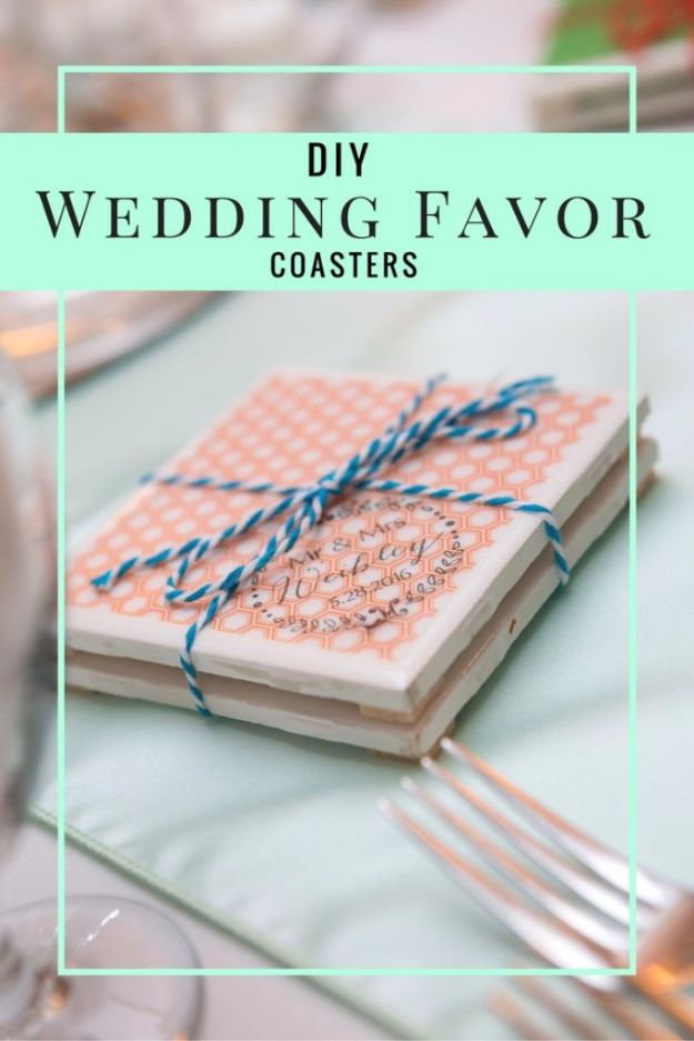 DIY Wedding Favors - DIY Wedding Favor Coasters - Do It Yourself Ideas for Brides and Best Wedding Favor Ideas for Weddings - cheap wedding favor ideas #wedding #diy