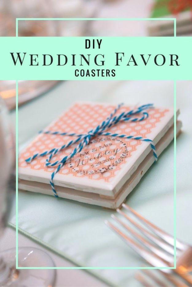 DIY Wedding Favors - DIY Wedding Favor Coasters - Do It Yourself Ideas for Brides and Best Wedding Favor Ideas for Weddings - cheap wedding favor ideas #wedding #diy