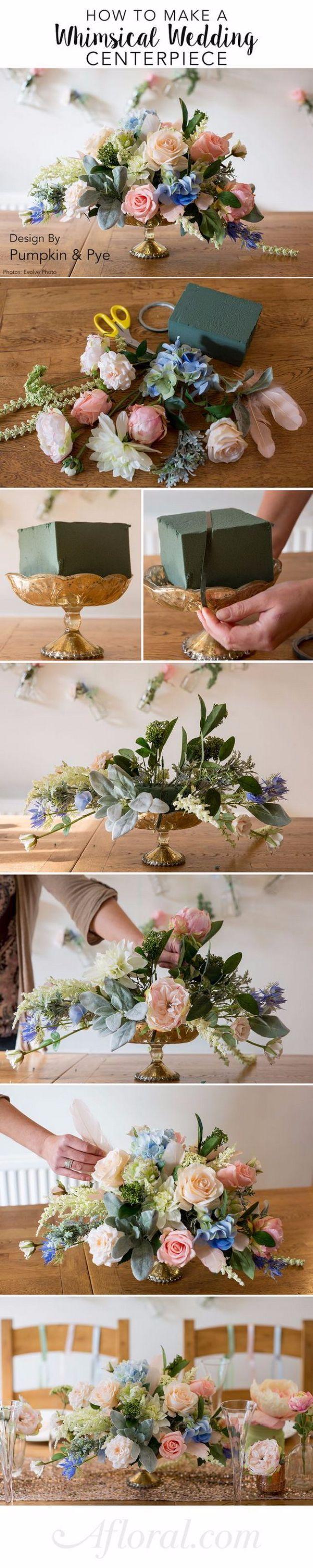 DIY Wedding Centerpieces - DIY Whimsical Wedding Centerpiece - Cheap Wedding Centerpieces to Make at Home - DIY floral ideas for Weddings