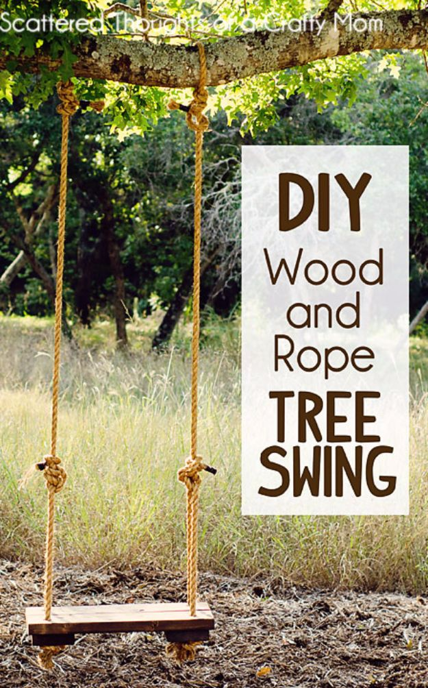 DIY Swings - DIY Wood And Rope Swing - Best Do It Yourself Swing Projects and Tutorials for Tire, Rocking, Hanging, Double Seat, Porch, Patio and Yard. Easy Ideas for Kids and Adults - Make The Best Backyard Ever This Summer With These Awesome Seating and Play Ideas for Swings - Creative Home Decor and Crafts by DIY JOY