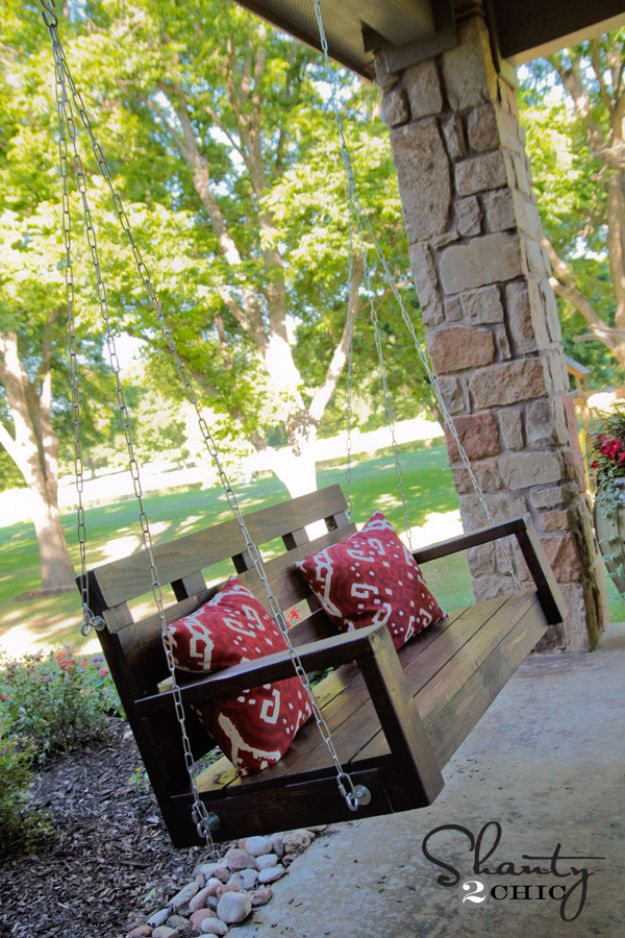 DIY Swings - DIY Wood Porch Swing - Best Do It Yourself Swing Projects and Tutorials for Tire, Rocking, Hanging, Double Seat, Porch, Patio and Yard. Easy Ideas for Kids and Adults - Make The Best Backyard Ever This Summer With These Awesome Seating and Play Ideas for Swings - Creative Home Decor and Crafts by DIY JOY