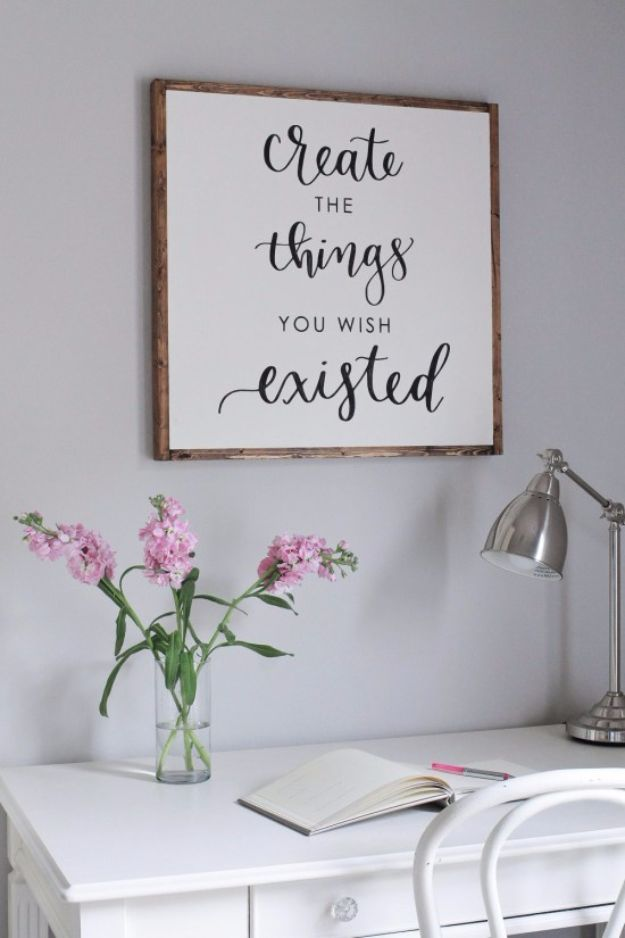 Best Free Printables For Your Walls - DIY Wood Sign With Calligraphy Quote Free Printable - Free Prints for Wall Art and Picture to Print for Home and Bedroom Decor - Crafts to Make and Sell With Ideas for the Home, Organization #diy