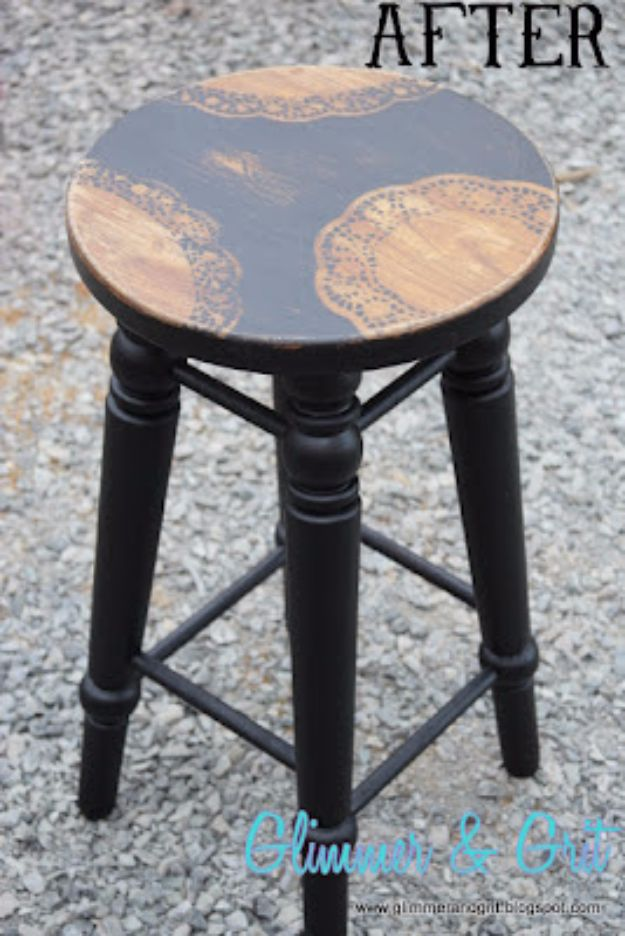 diy barstools - Dollar Store Doily Stenciled Stool - Easy and Cheap Ideas for Seating and Creative Home Decor - Do It Yourself Bar Stools for Modern, Rustic, Farmhouse, Shabby Chic, Industrial and Simple Classic Decor #barstools #diy
