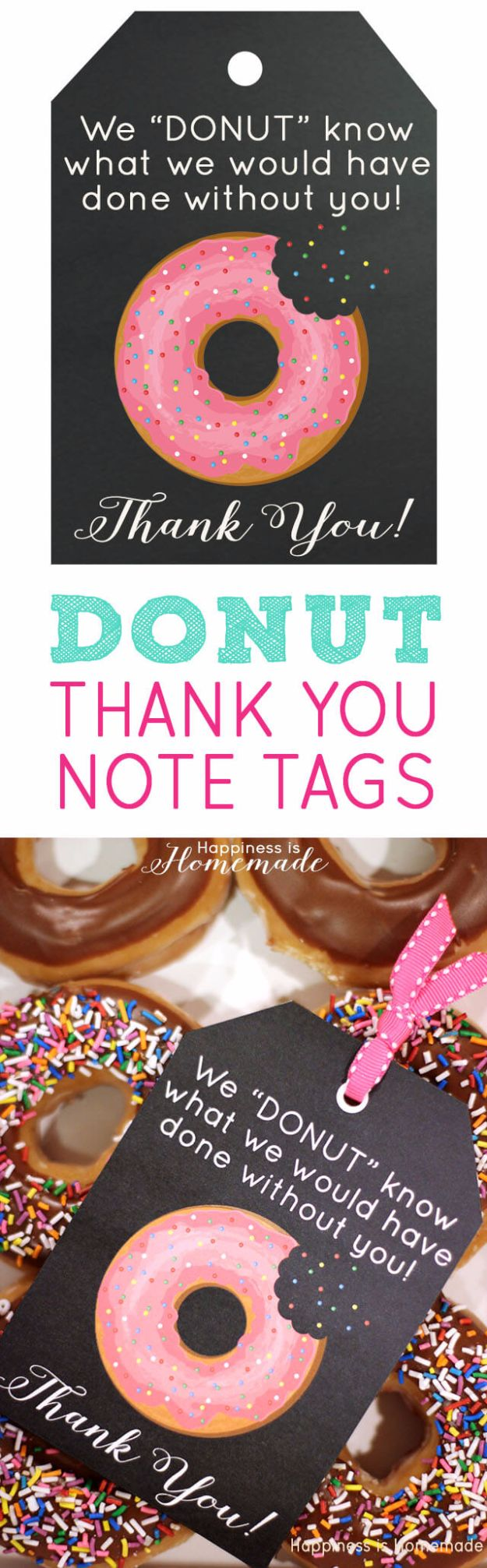 Homemade Gift Cards and Tags - Donut Thank You Gift Tags - Easy and Cheap Ideas for Creative Handmade Birthday, Christmas, Mothers Day and Father Day Cards - Cute Holiday Gift Tags, Dollar Store Crafts, Homemade DIY Gifts and Gift Card Holders You Can Make at Home - Fun Crafts for Adults, Kids and Teens #diygifts #gifttags