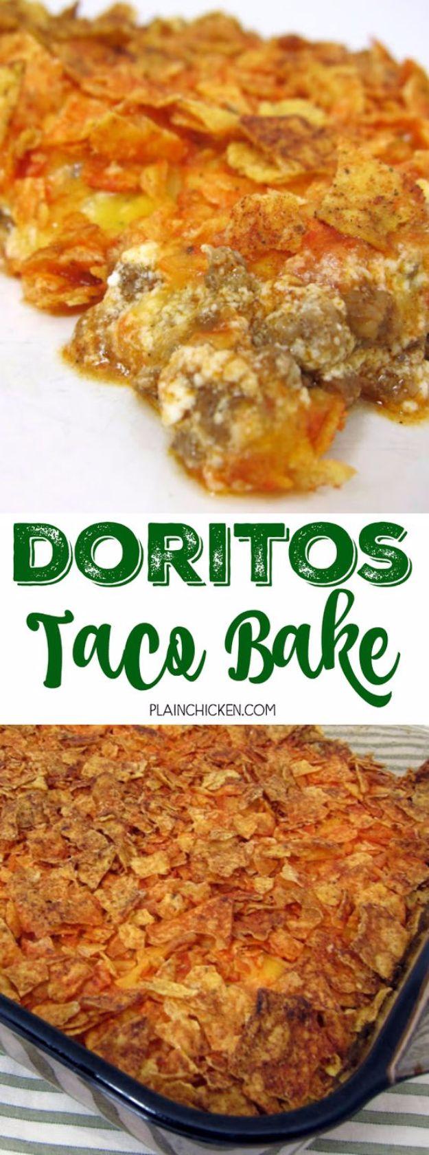 DIY Recipes Made With Doritos - Doritos Taco Bake - Best Dorito Recipes for Casserole, Taco Salad, Chicken Dinners, Beef Casseroles, Nachos, Easy Cool Ranch Meals and Ideas for Dips, Snacks and Kids Recipe Tutorials - Quick Lunch Ideas and Recipes for Parties http://diyjoy.com/recipe-ideas-doritos