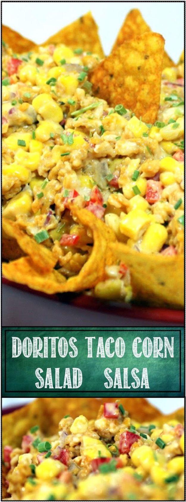 DIY Recipes Made With Doritos - Doritos Taco Corn Salsa Salad - Best Dorito Recipes for Casserole, Taco Salad, Chicken Dinners, Beef Casseroles, Nachos, Easy Cool Ranch Meals and Ideas for Dips, Snacks and Kids Recipe Tutorials - Quick Lunch Ideas and Recipes for Parties http://diyjoy.com/recipe-ideas-doritos