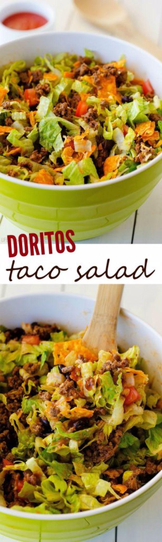 DIY Recipes Made With Doritos - Doritos Taco Salad - Best Dorito Recipes for Casserole, Taco Salad, Chicken Dinners, Beef Casseroles, Nachos, Easy Cool Ranch Meals and Ideas for Dips, Snacks and Kids Recipe Tutorials - Quick Lunch Ideas and Recipes for Parties http://diyjoy.com/recipe-ideas-doritos