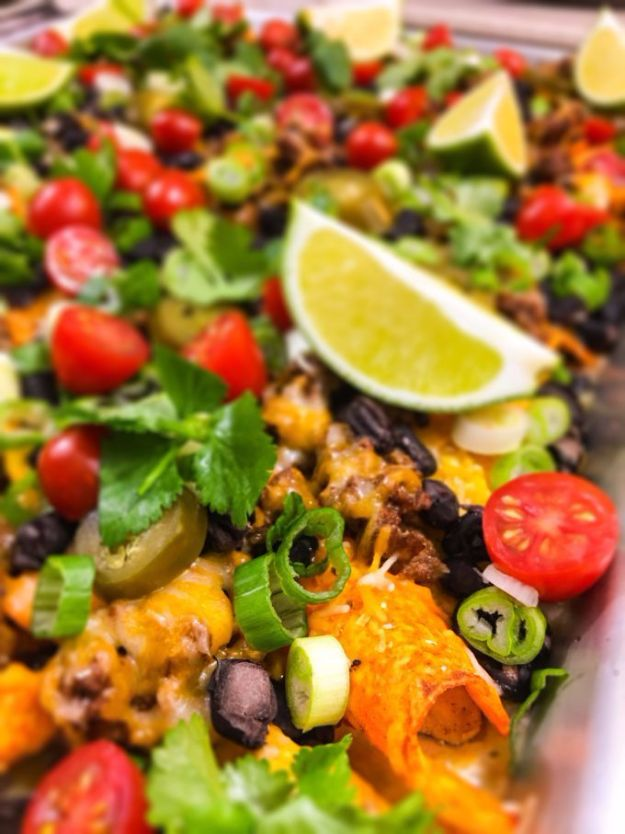 DIY Recipes Made With Doritos - Dos Doritos Sheet Pan Nachos - Best Dorito Recipes for Casserole, Taco Salad, Chicken Dinners, Beef Casseroles, Nachos, Easy Cool Ranch Meals and Ideas for Dips, Snacks and Kids Recipe Tutorials - Quick Lunch Ideas and Recipes for Parties