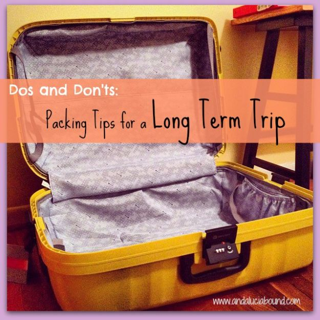 Packing Tips for Travel - Dos and Dont's for Packing - Easy Ideas for Packing a Suitcase To Maximize Space - Tricks and Hacks for Folding Clothes, Storing Toiletries, Shampoo and Makeup - Keep Clothing Wrinkle Free in Your Bag http://diyjoy.com/packing-tips-travel