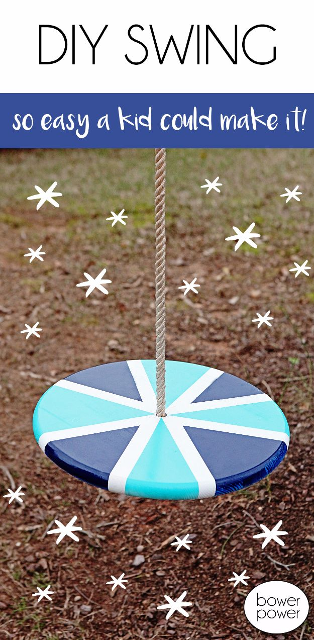 DIY Swings - Easy DIY Swing - Best Do It Yourself Swing Projects and Tutorials for Tire, Rocking, Hanging, Double Seat, Porch, Patio and Yard. Easy Ideas for Kids and Adults - Make The Best Backyard Ever This Summer With These Awesome Seating and Play Ideas for Swings - Creative Home Decor and Crafts by DIY JOY