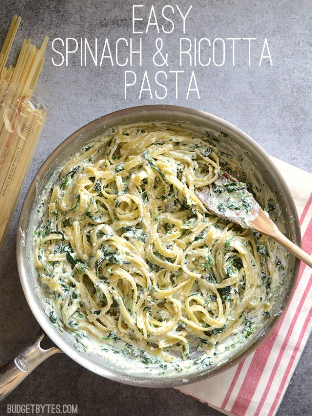 Best Spinach Recipes - Easy Spinach Ricotta Pasta - Easy, Healthy Lowfat Recipe Ideas for Dinner, Salads, Lunches, Sides, Smoothies and Even Dessert - Qucik and Creative Ideas for Vegetables - Cheesy, Creamed, Country Style Favorites for Family and For Kids http://diyjoy.com/best-spinach-recipes