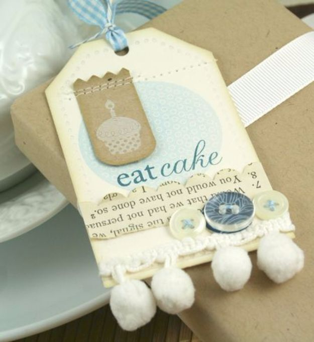 Homemade Gift Cards and Tags - Eat Cake Tag - Easy and Cheap Ideas for Creative Handmade Birthday, Christmas, Mothers Day and Father Day Cards - Cute Holiday Gift Tags, Dollar Store Crafts, Homemade DIY Gifts and Gift Card Holders You Can Make at Home - Fun Crafts for Adults, Kids and Teens #diygifts #gifttags