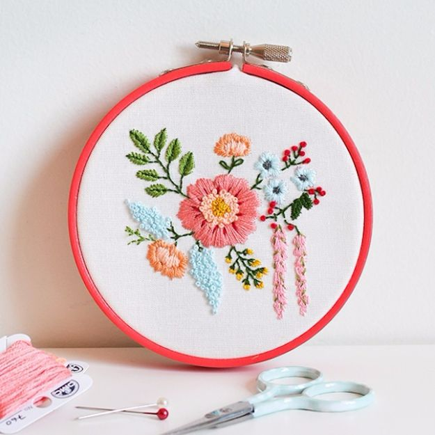 Free Embroidery Patterns - Embroidered Bouquet - Best Embroidery Projects and Step by Step DIY Tutorials for Making Home Decor, Wall Art, Pillows and Creative Handmade Sewing Gifts embroidery gifts diy ideas