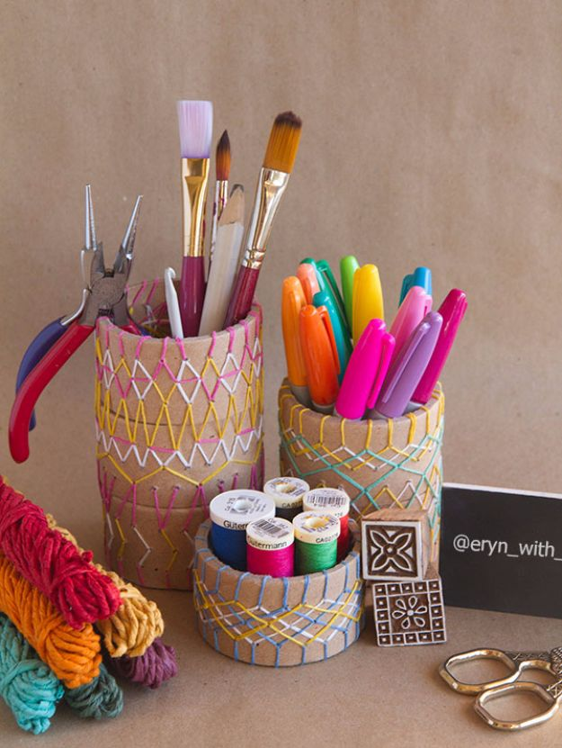 Free Embroidery Patterns - Embroidered Pencil Holder DIY - Best Embroidery Projects and Step by Step DIY Tutorials for Making Home Decor, Wall Art, Pillows and Creative Handmade Sewing Gifts embroidery gifts diy ideas