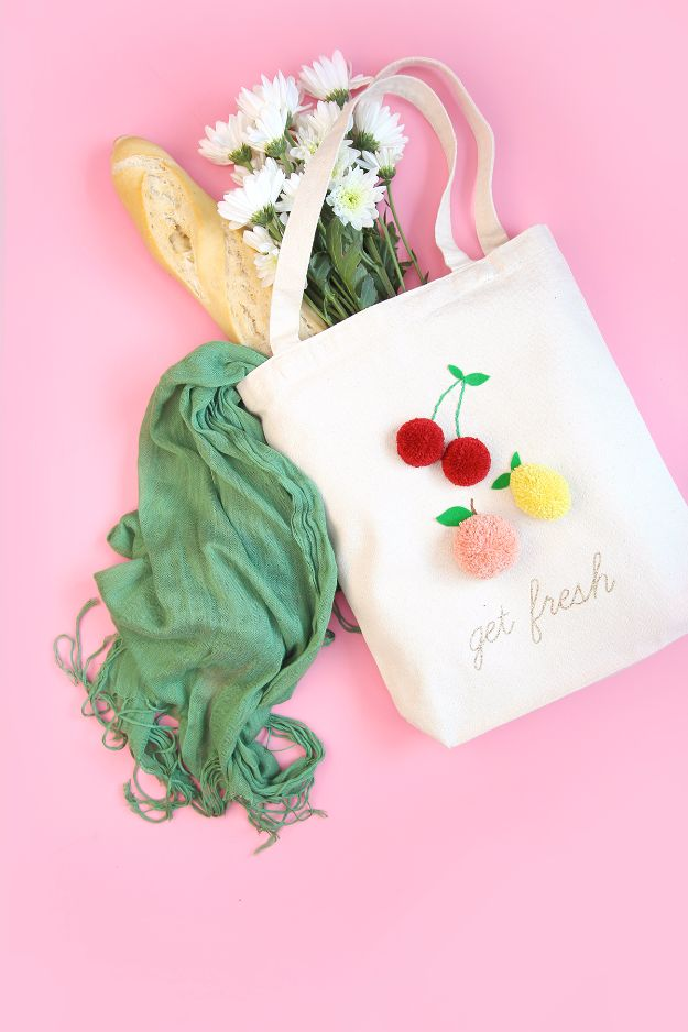 Free Embroidery Patterns - Embroidered Pom Pom Market Tote - Best Embroidery Projects and Step by Step DIY Tutorials for Making Home Decor, Wall Art, Pillows and Creative Handmade Sewing Gifts embroidery gifts diy ideas