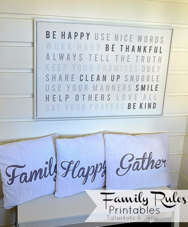 Best Free Printables For Your Walls - Family Rules Free Printable - Free Prints for Wall Art and Picture to Print for Home and Bedroom Decor - Crafts to Make and Sell With Ideas for the Home, Organization - Quotes for Bedroom, Living Room and Kitchens, Vintage Bathroom Pictures - Downloadable Printable for Kids - DIY and Crafts by DIY JOY http://diyjoy.com/free-printables-walls