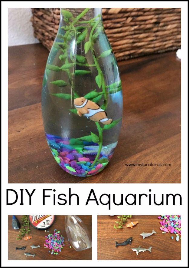 DIY Aquarium Ideas - Fish Jar Aquarium - Cool and Easy Decorations for Tank Aquariums, Mason Jar, Wall and Stand Projects for Fish - Creative Background Ideas - Fun Tutorials for Kids to Make With Plants and Decor - Best Home Decor and Crafts by DIY JOY http://diyjoy.com/diy-aquariums