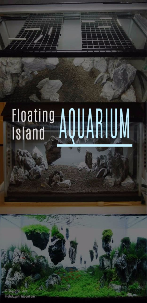 DIY Aquarium Ideas - Floating Island Aquarium - Cool and Easy Decorations for Tank Aquariums, Mason Jar, Wall and Stand Projects for Fish - Creative Background Ideas - Fun Tutorials for Kids to Make With Plants and Decor - Best Home Decor and Crafts by DIY JOY
