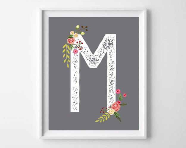 Best Free Printables For Your Walls - Floral Initial Free Printable - Free Prints for Wall Art and Picture to Print for Home and Bedroom Decor - Crafts to Make and Sell With Ideas for the Home, Organization #diy
