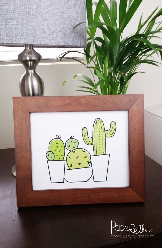 Free Printables For Your Walls - Free Cactus Printable - Best Free Prints for Wall Art and Picture to Print for Home and Bedroom Decor - Ideas for the Home, Organization - Quotes for Bedroom and Kitchens, Vintage Bathroom Pictures - Downloadable Printable for Kids - DIY and Crafts by DIY JOY http://diyjoy.com/free-printables-walls