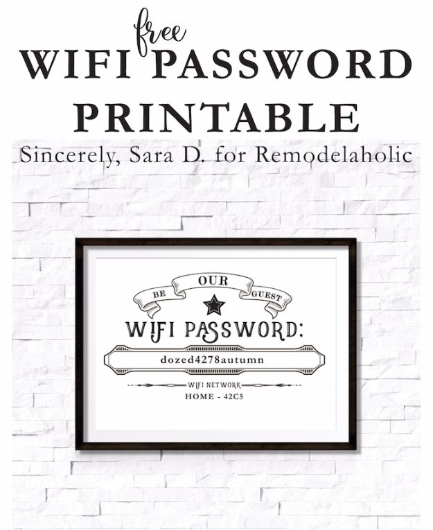 Free Printables For Your Walls - Free Editable Guest Wifi Printable - Best Free Prints for Wall Art and Picture to Print for Home and Bedroom Decor - Ideas for the Home, Organization - Quotes for Bedroom and Kitchens, Vintage Bathroom Pictures - Downloadable Printable for Kids - DIY and Crafts by DIY JOY http://diyjoy.com/free-printables-walls