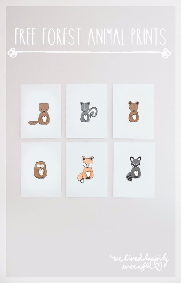 Best Free Printables For Your Walls - Free Forest Animal Clip Art Graphics - Free Prints for Wall Art and Picture to Print for Home and Bedroom Decor - Crafts to Make and Sell With Ideas for the Home, Organization #diy