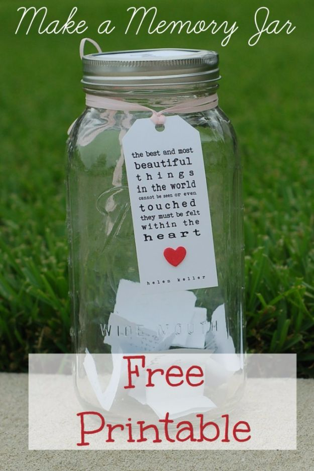 Free Printables for Mason Jars - Free Memories Jar Printable - Best Ideas for Tags and Printable Clip Art for Fun Mason Jar Gifts and Organization#masonjar #crafts #printables
