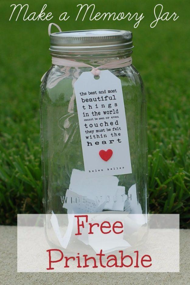 Free Printables for Mason Jars - Free Memories Jar Printable - Best Ideas for Tags and Printable Clip Art for Fun Mason Jar Gifts and Organization#masonjar #crafts #printables