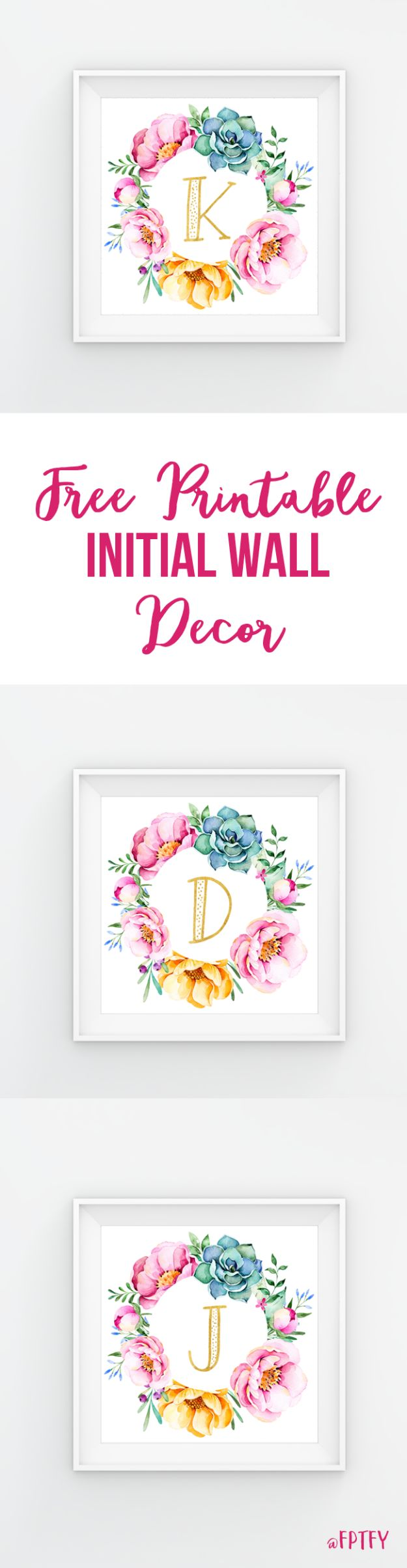 Best Free Printables For Your Walls - Free Printable Initial Wall Decor - Free Prints for Wall Art and Picture to Print for Home and Bedroom Decor - Crafts to Make and Sell With Ideas for the Home, Organization #diy