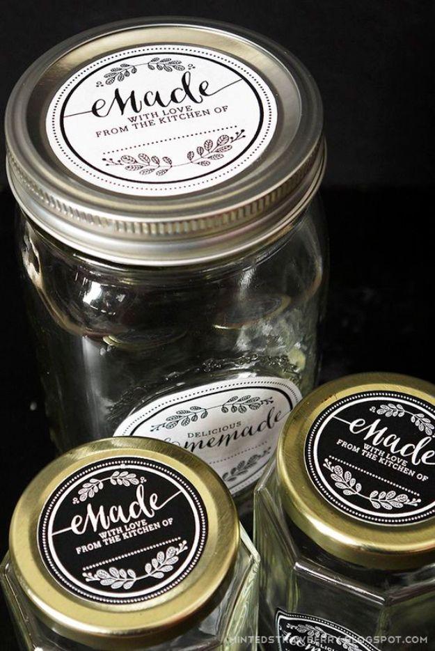 Free Printables for Mason Jars - Free Printable Mason Jar Label - Best Ideas for Tags and Printable Clip Art for Fun Mason Jar Gifts and Organization#masonjar #crafts #printables