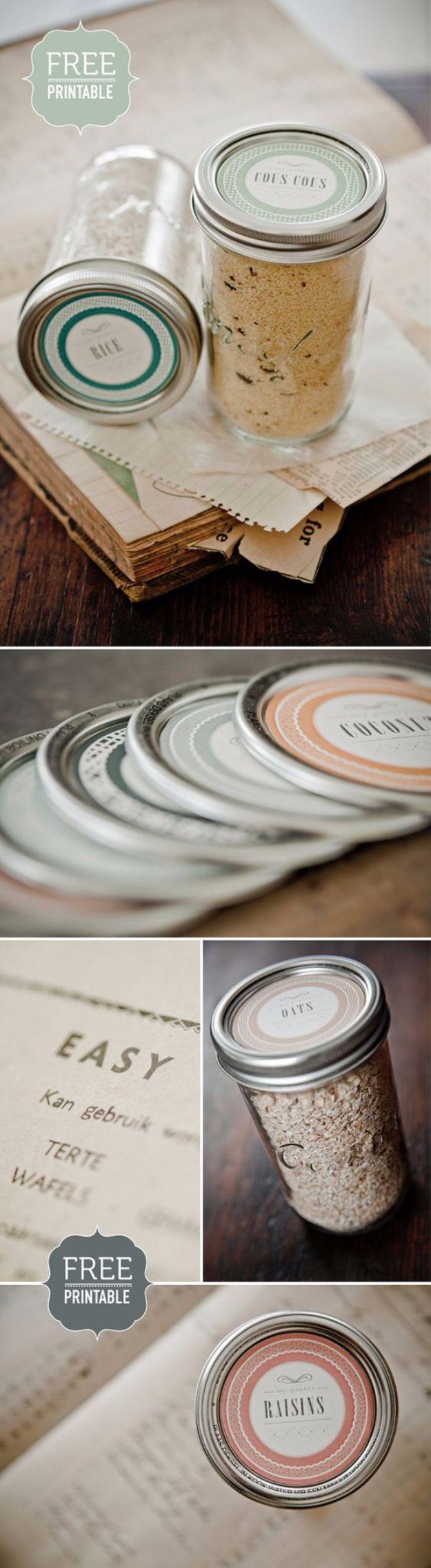 Free Printables for Mason Jars - Free Printable Mason Jar Lid Template - Best Ideas for Tags and Printable Clip Art for Fun Mason Jar Gifts and Organization#masonjar #crafts #printables
