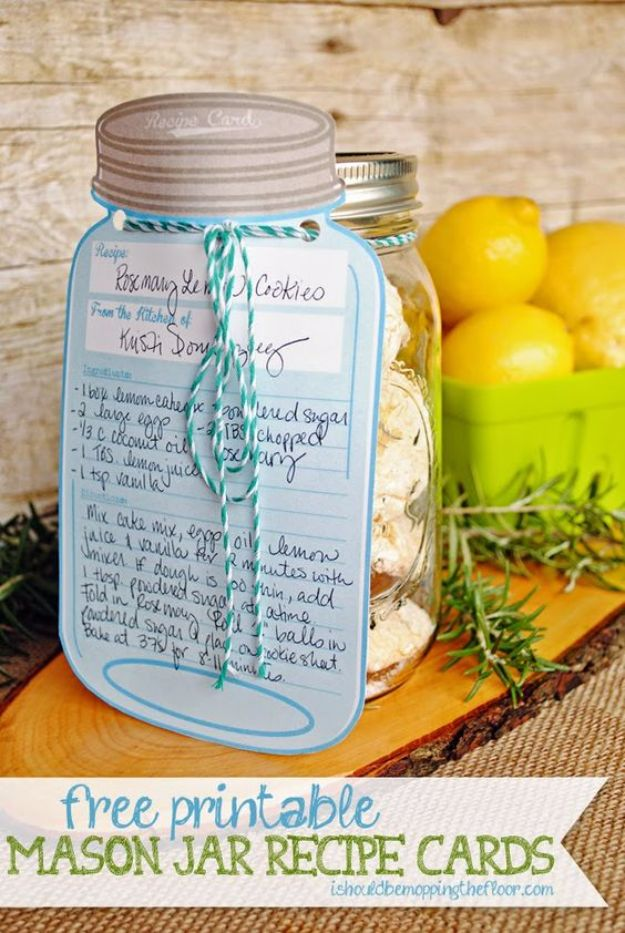 Free Printables for Mason Jars - Free Printable Mason Jar Recipe Cards - Best Ideas for Tags and Printable Clip Art for Fun Mason Jar Gifts and Organization - Sugar scrub, Teacher Gifts, Valentines, Cookie Mixes, Party Favors, Wedding Holidays and Fun Recipes - DIY Mason Jar Gifts and Home Decor Crafts by DIY JOY http://diyjoy.com/free-printables-mason-jars