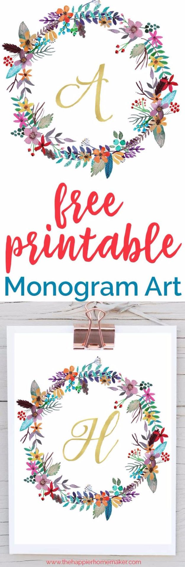 Free Printables For Your Walls - Free Printable Monogram Art - Best Free Prints for Wall Art and Picture to Print for Home and Bedroom Decor - Ideas for the Home, Organization - Quotes for Bedroom and Kitchens, Vintage Bathroom Pictures - Downloadable Printable for Kids - DIY and Crafts by DIY JOY http://diyjoy.com/free-printables-walls