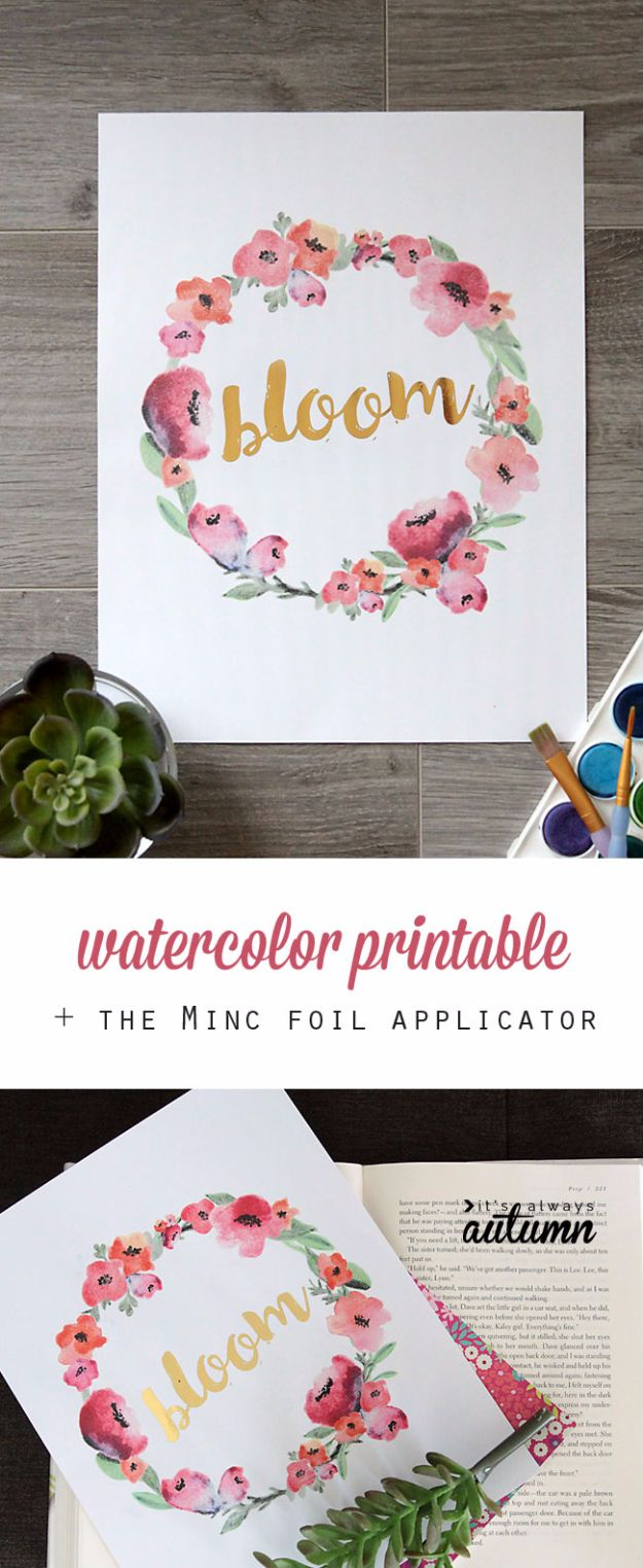 Free Printables For Your Walls - Free Watercolor Printable + Minc Gold Foil - Best Free Prints for Wall Art and Picture to Print for Home and Bedroom Decor - Ideas for the Home, Organization - Quotes for Bedroom and Kitchens, Vintage Bathroom Pictures - Downloadable Printable for Kids - DIY and Crafts by DIY JOY http://diyjoy.com/free-printables-walls