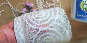 For A Stunning Shabby Chic Look She Puts Lace On A Mason Jar And What She Adds Next Is Magical!