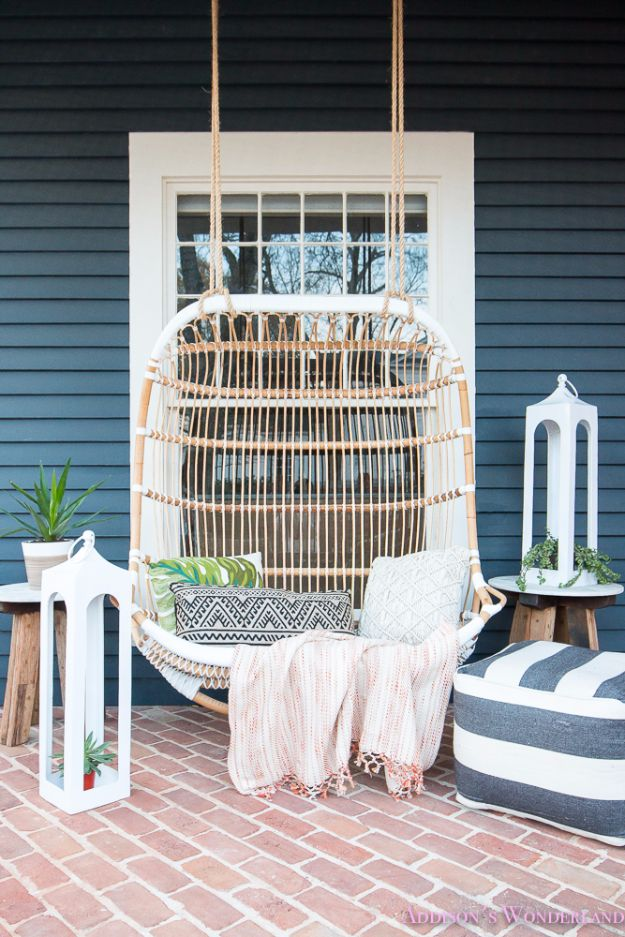 DIY Swings - Front Porch Swing - Best Do It Yourself Swing Projects and Tutorials for Tire, Rocking, Hanging, Double Seat, Porch, Patio and Yard. Easy Ideas for Kids and Adults - Make The Best Backyard Ever This Summer With These Awesome Seating and Play Ideas for Swings - Creative Home Decor and Crafts by DIY JOY