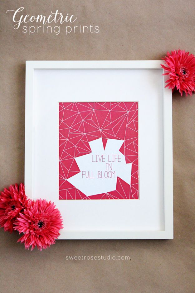 Best Free Printables For Your Walls - Geometric Spring Prints - Free Prints for Wall Art and Picture to Print for Home and Bedroom Decor - Crafts to Make and Sell With Ideas for the Home, Organization #diy