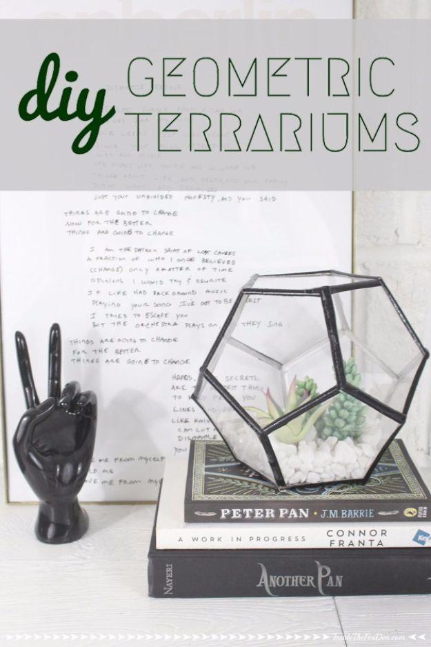 DIY Terrarium Ideas - Geometric Terrarium - Cool Terrariums and Crafts With Mason Jars, Succulents, Wood, Geometric Designs and Reptile, Acquarium - Easy DIY Terrariums for Adults and Kids To Make at Home http://diyjoy.com/diy-terrarium-ideas