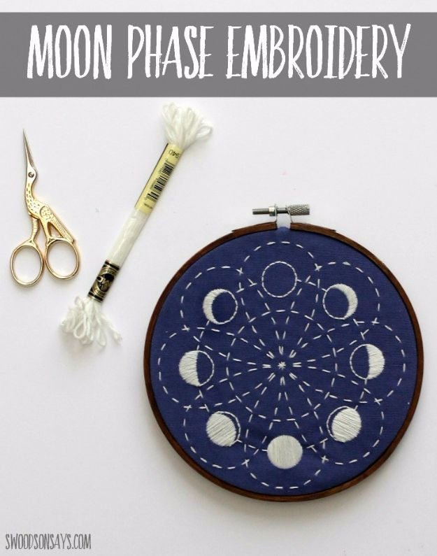 Free Embroidery Patterns - Glow In The Dark Lunar Moon Phases Embroidery - Best Embroidery Projects and Step by Step DIY Tutorials for Making Home Decor, Wall Art, Pillows and Creative Handmade Sewing Gifts embroidery gifts diy ideas