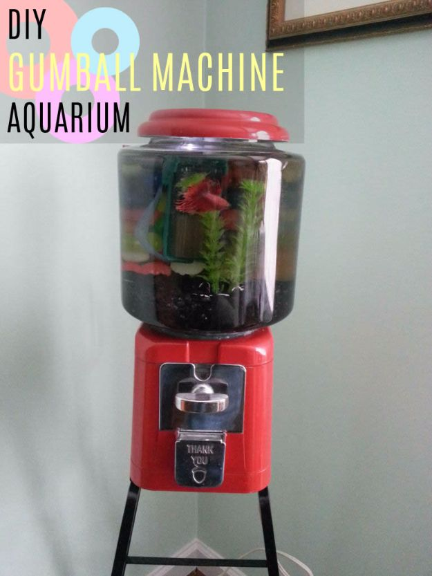 DIY Aquarium Ideas - Gumball Machine Aquarium - Cool and Easy Decorations for Tank Aquariums, Mason Jar, Wall and Stand Projects for Fish - Creative Background Ideas - Fun Tutorials for Kids to Make With Plants and Decor - Best Home Decor and Crafts by DIY JOY http://diyjoy.com/diy-aquariums