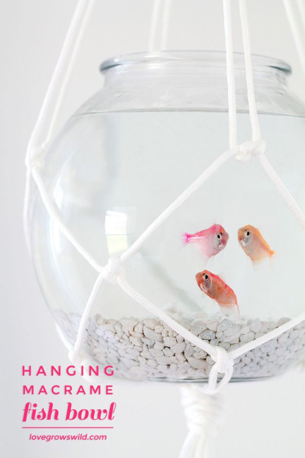 DIY Aquarium Ideas - Hanging Macrame Fish Bowl - Cool and Easy Decorations for Tank Aquariums, Mason Jar, Wall and Stand Projects for Fish - Creative Background Ideas - Fun Tutorials for Kids to Make With Plants and Decor - Best Home Decor and Crafts by DIY JOY http://diyjoy.com/diy-aquariums