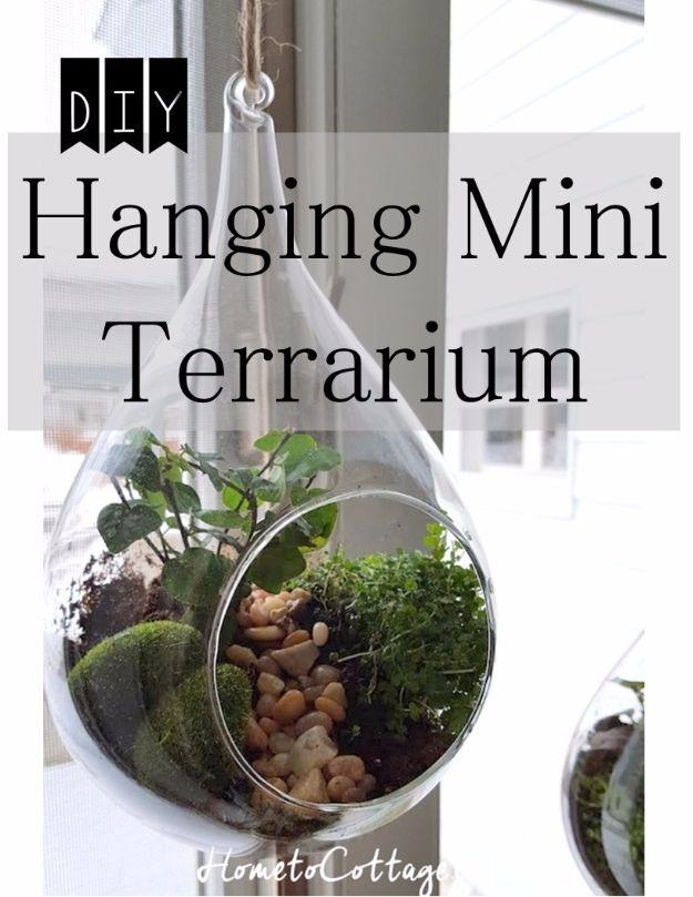 DIY Terrarium Ideas - Hanging Terrarium - Cool Terrariums and Crafts With Mason Jars, Succulents, Wood, Geometric Designs and Reptile, Acquarium - Easy DIY Terrariums for Adults and Kids To Make at Home http://diyjoy.com/diy-terrarium-ideas