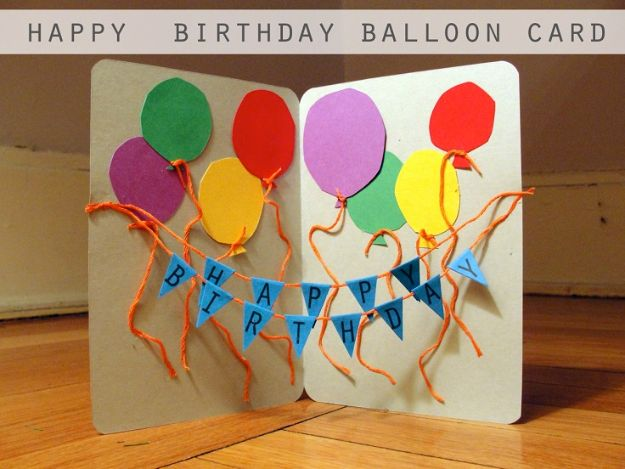 DIY Birthday Cards - Happy Birthday Balloons - Easy and Cheap Handmade Birthday Cards To Make At Home - Cute Card Projects With Step by Step Tutorials are Perfect for Birthdays for Mom, Dad, Kids and Adults - Pop Up and Folded Cards, Creative Gift Card Holders and Fun Ideas With Cake http://diyjoy.com/diy-birthday-cards