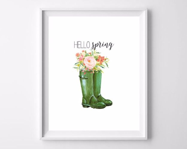 Free Printables For Your Walls - Hello Spring Free Printables - Best Free Prints for Wall Art and Picture to Print for Home and Bedroom Decor - Ideas for the Home, Organization - Quotes for Bedroom and Kitchens, Vintage Bathroom Pictures - Downloadable Printable for Kids - DIY and Crafts by DIY JOY http://diyjoy.com/free-printables-walls