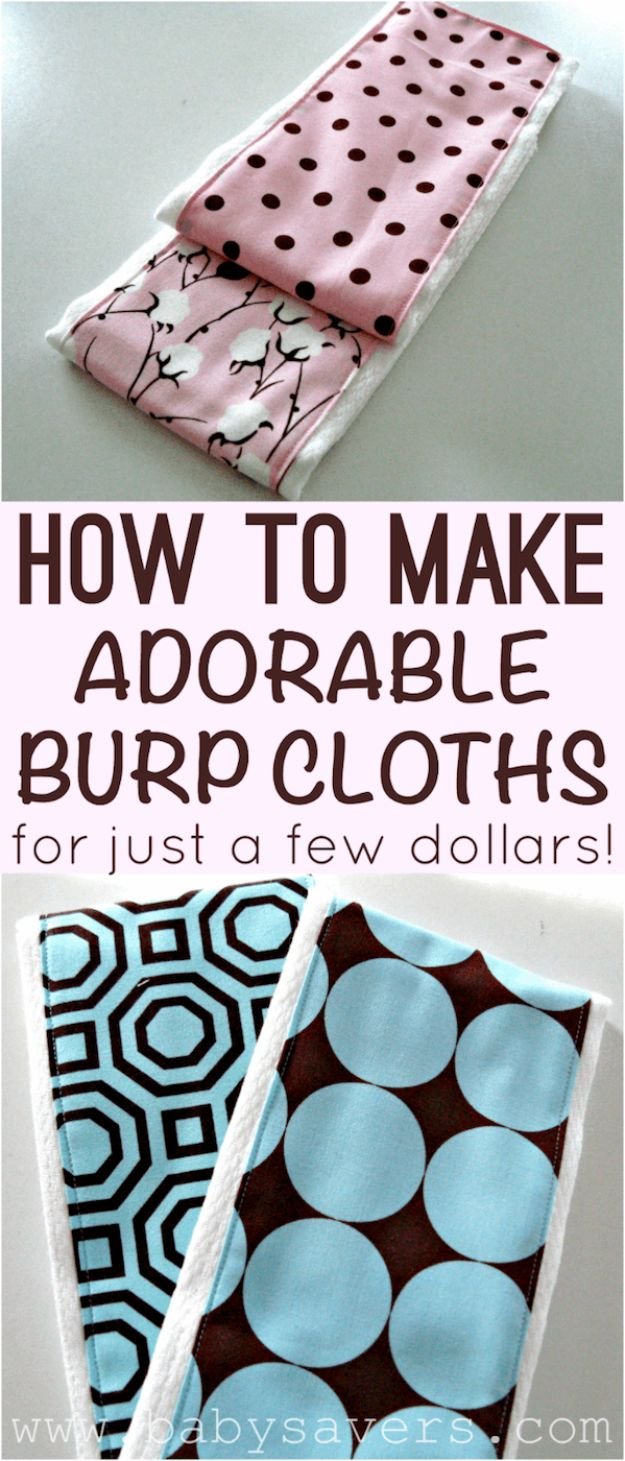 DIY Ideas for Newborn - Homemade Burp Cloth - Do It Yourself Projects for the New Baby Boy or Girl - Nursery and Room Decor, Gear and Products, Safety Ideas and Other Practical Items Make Great DIY Baby Gifts