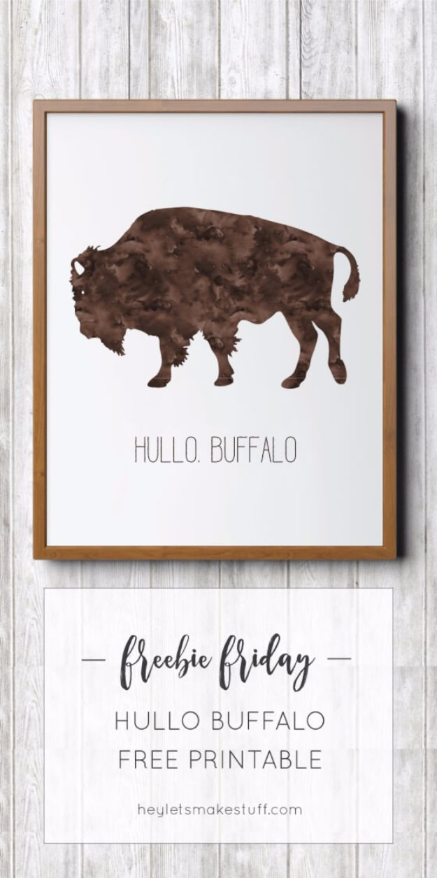 Best Free Printables For Your Walls - Hullo Buffalo Art Print - Free Prints for Wall Art and Picture to Print for Home and Bedroom Decor - Crafts to Make and Sell With Ideas for the Home, Organization #diy