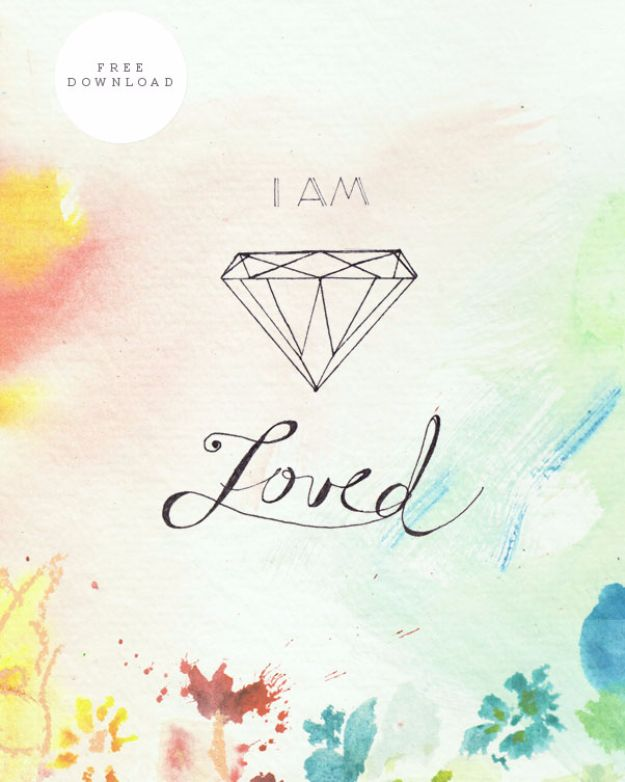 Best Free Printables For Your Walls - I Am Loved Free Printable - Free Prints for Wall Art and Picture to Print for Home and Bedroom Decor - Crafts to Make and Sell With Ideas for the Home, Organization #diy