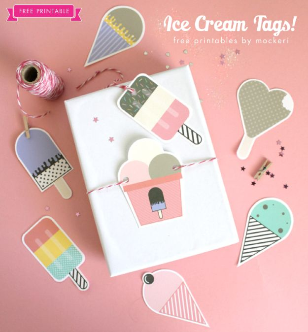 Homemade Gift Cards and Tags - Ice Cream Gift Tags - Easy and Cheap Ideas for Creative Handmade Birthday, Christmas, Mothers Day and Father Day Cards - Cute Holiday Gift Tags, Dollar Store Crafts, Homemade DIY Gifts and Gift Card Holders You Can Make at Home - Fun Crafts for Adults, Kids and Teens